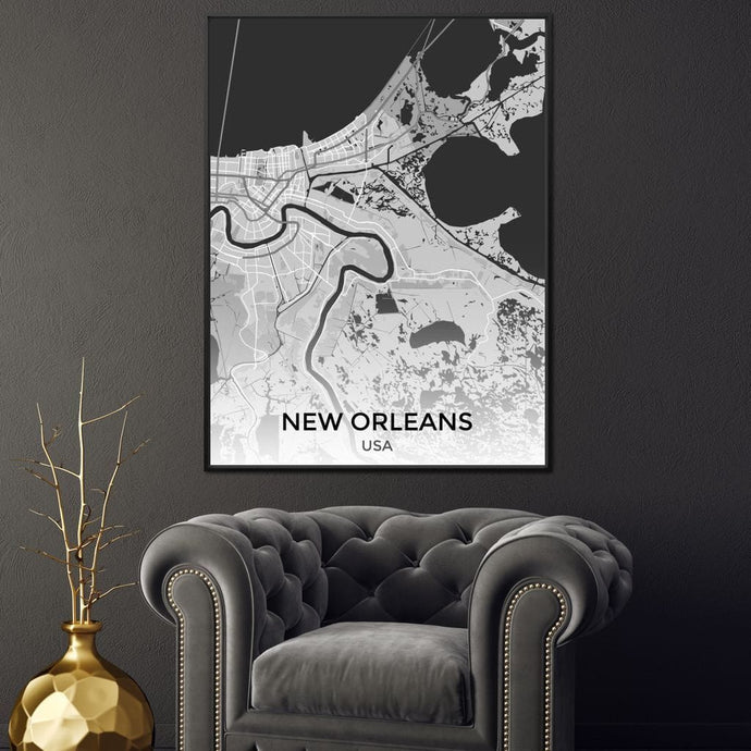 Map of New Orleans, USA Multi Panel Canvas Wall Art - NicheCanvas