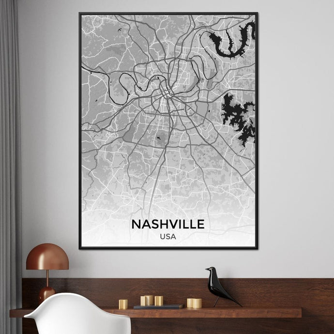 Map of Nashville, USA Multi Panel Canvas Wall Art - NicheCanvas