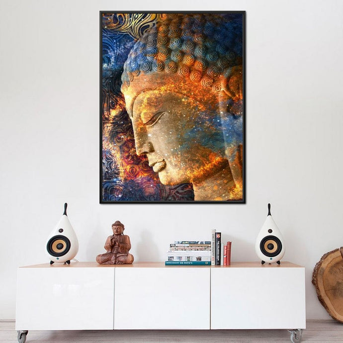 Buddha's Profile Multi Panel Canvas Wall Art - NicheCanvas