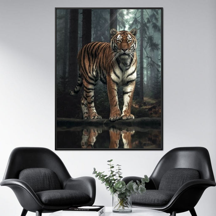 Tiger Reflection - Zenzdesign Multi Panel Canvas Wall Art - NicheCanvas