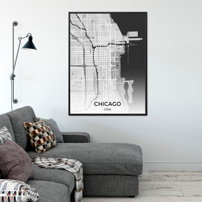 Map of Chicago, USA Multi Panel Canvas Wall Art - NicheCanvas