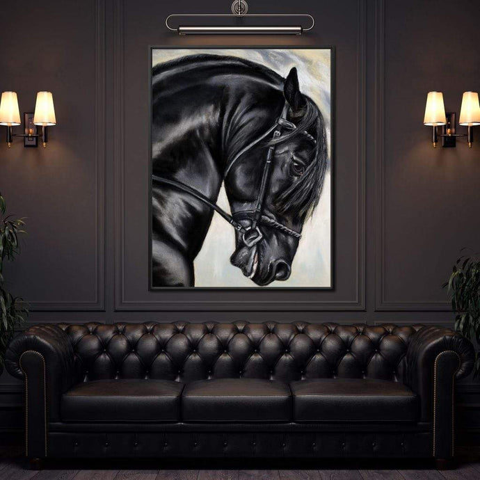Black Friesian Horse - NicheCanvas