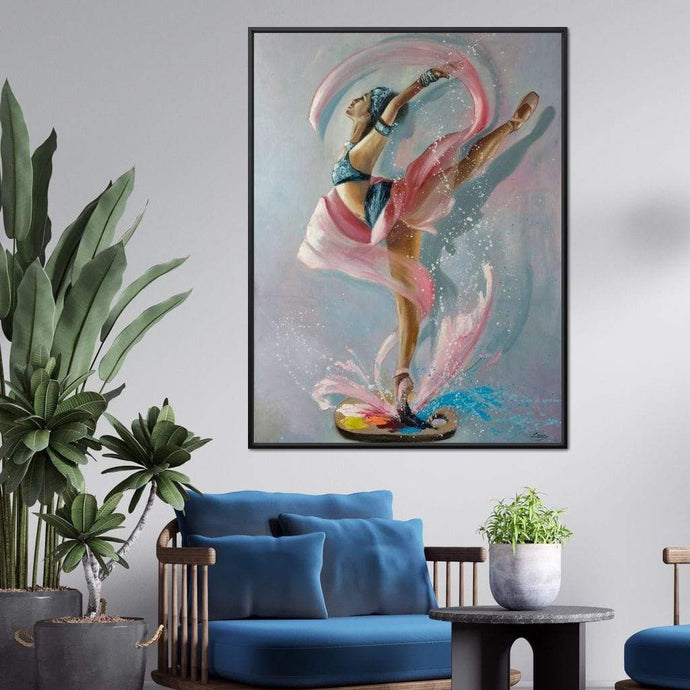 Ballet Dancer Artist Palette Multi Panel Canvas Wall Art - NicheCanvas