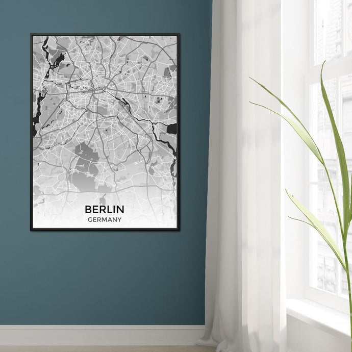 Map of Berlin, Germany Multi Panel Canvas Wall Art - NicheCanvas