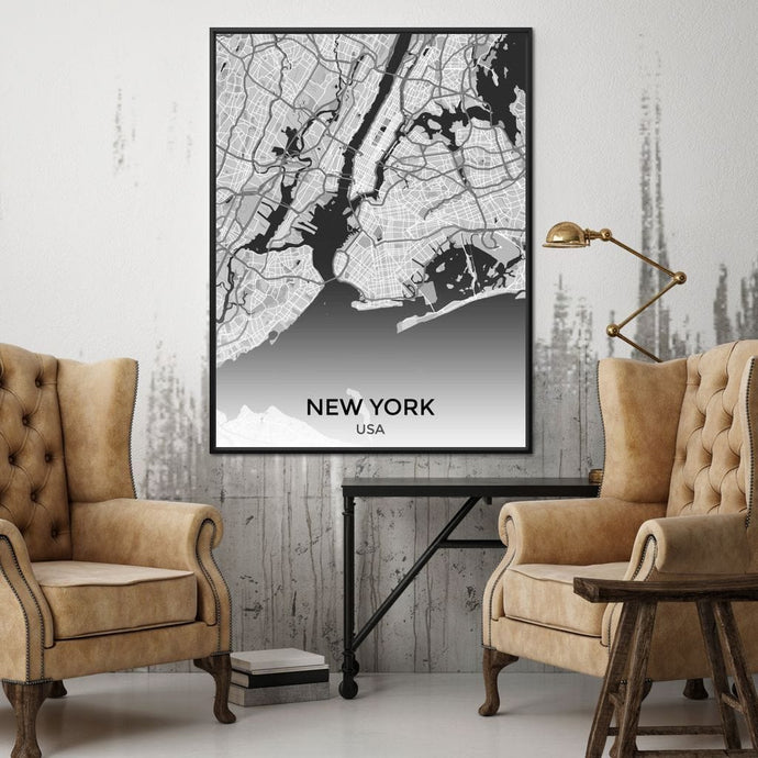 Map of New York City, USA Multi Panel Canvas Wall Art - NicheCanvas