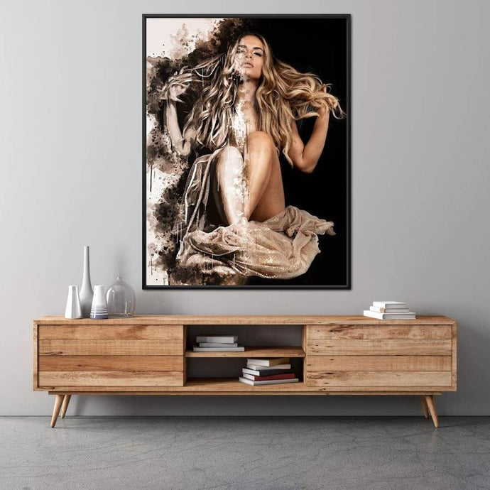 Golden Beauty - Johanjjf Multi Panel Canvas Wall Art - NicheCanvas