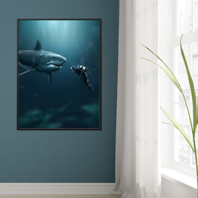 Shark Meets Diver - Zenzdesign - NicheCanvas