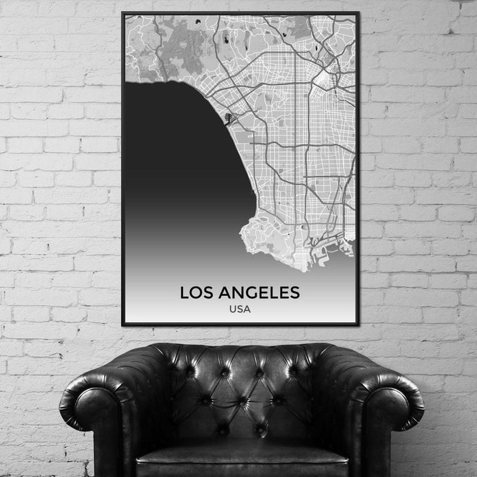 Map of Los Angeles, USA Multi Panel Canvas Wall Art - NicheCanvas