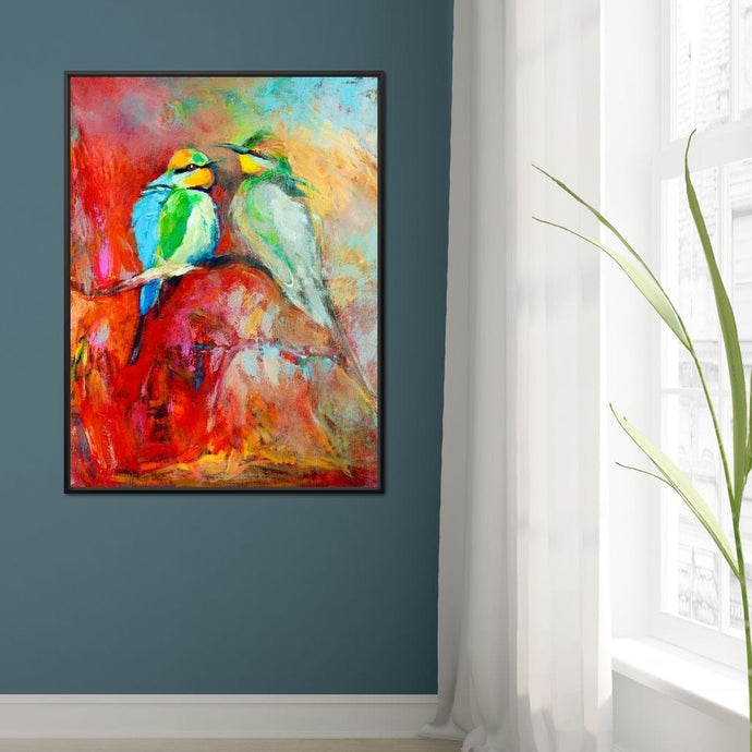 Blue-Tailed Birds Large Floating Frame