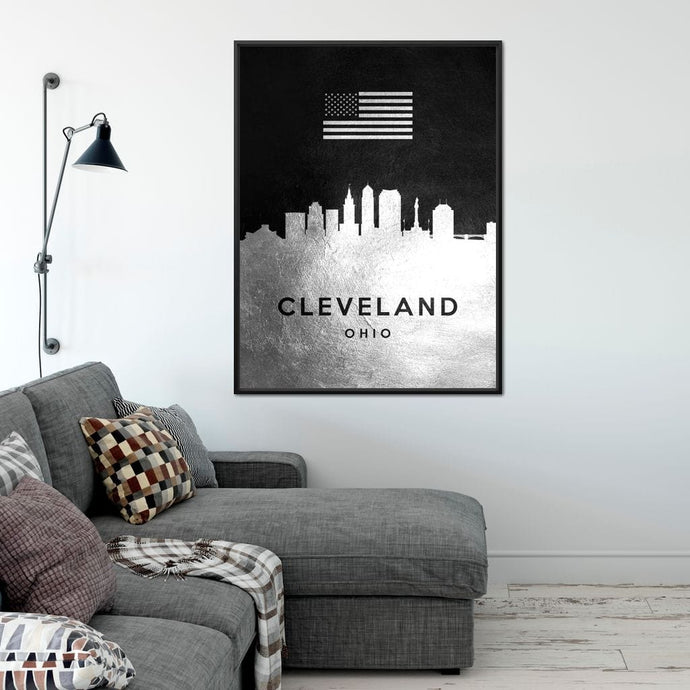 Cleveland Silver Skyline - ABConcepts - NicheCanvas