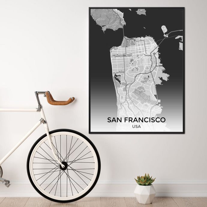 Map of San Francisco, USA Multi Panel Canvas Wall Art - NicheCanvas