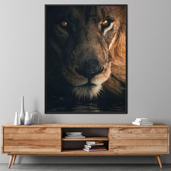 Lion Portrait Water - Zenzdesign Multi Panel Canvas Wall Art - NicheCanvas
