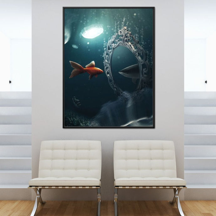 Shark Goldfish - Zenzdesign Multi Panel Canvas Wall Art - NicheCanvas