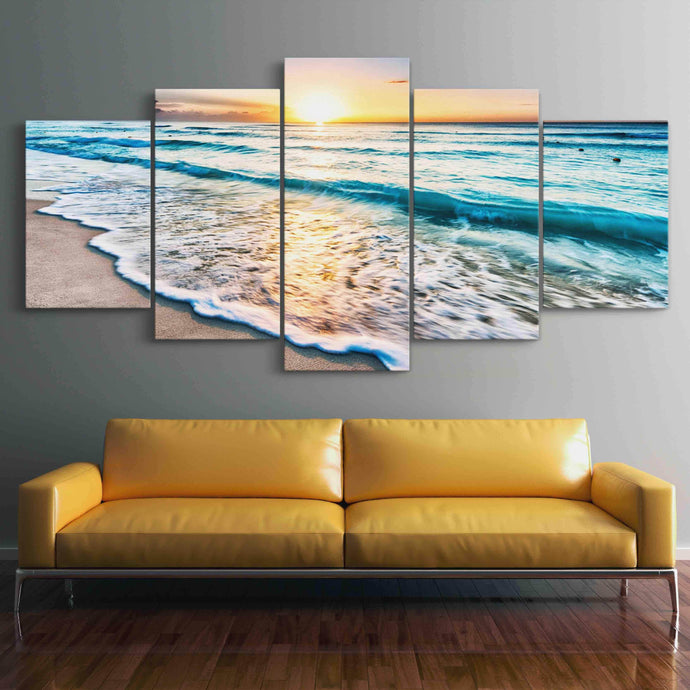 Relaxing Sunset Multi Panel Canvas Wall Art - NicheCanvas