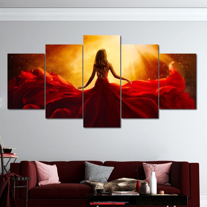 Red Flying Dress Multi Panel Canvas Wall Art - NicheCanvas