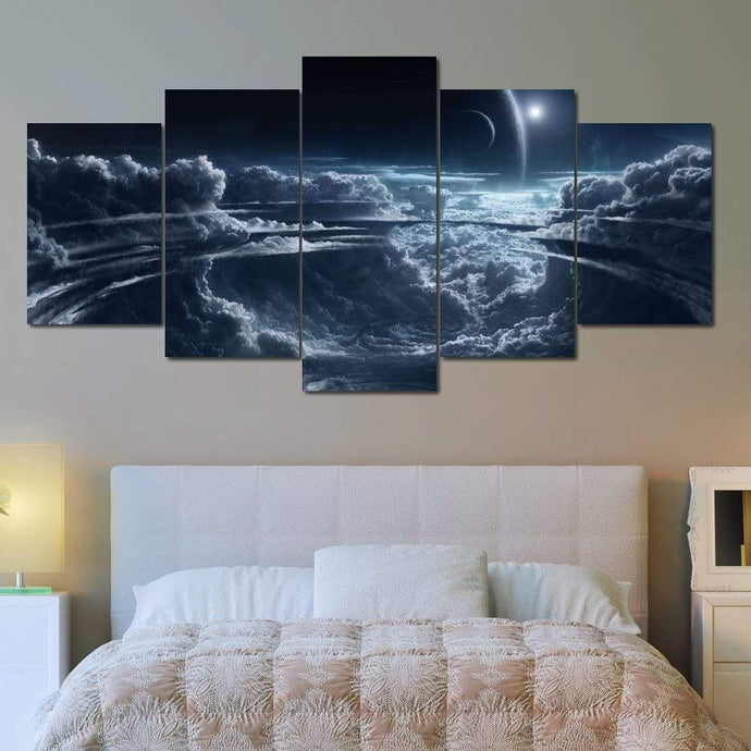 Space View Multi Panel Canvas Wall Art - NicheCanvas