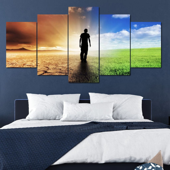 Leaving The Desert Multi Panel Canvas Wall Art - NicheCanvas