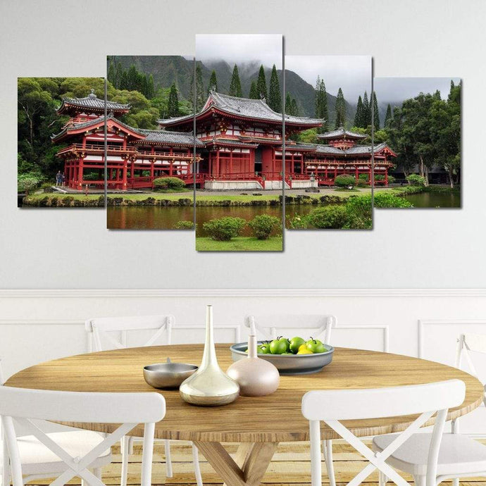 Byodo-In Buddhist Japanese Temple Multi Panel Canvas Wall Art - NicheCanvas