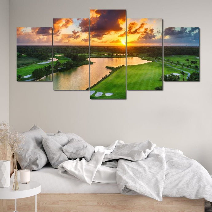 Tropical Golf Course Multi Panel Canvas Wall Art - NicheCanvas