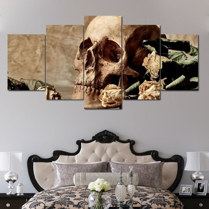Skull and Dead Roses Multi Panel Canvas Wall Art - NicheCanvas