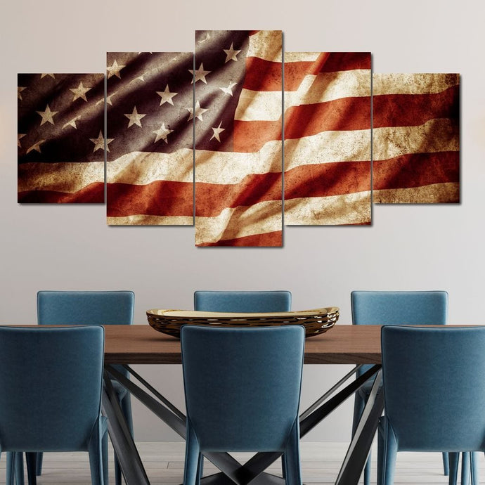 Celebrated American Flag Multi Panel Canvas Wall Art - NicheCanvas