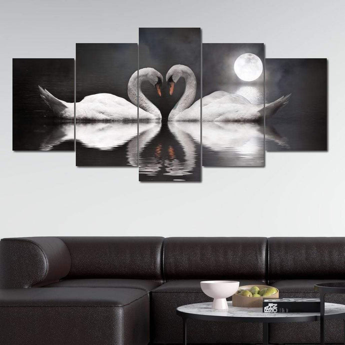 Swan Couple Full Moon Multi Panel Canvas Wall Art - NicheCanvas