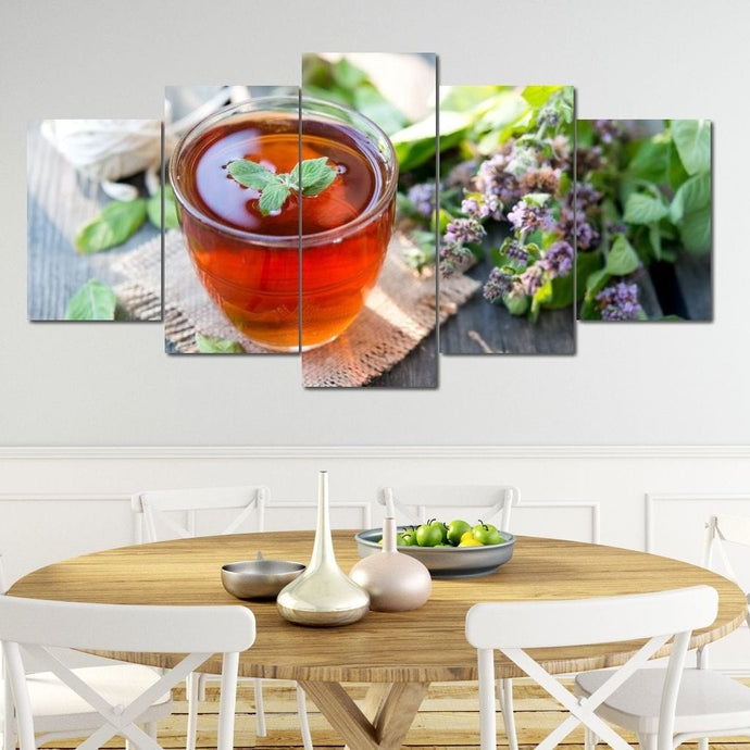 Black Tea with Mint Multi Panel Canvas Wall Art - NicheCanvas