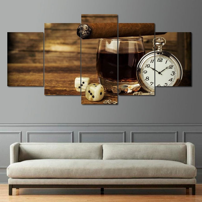 Gentleman's Cognac Multi Panel Canvas Wall Art - NicheCanvas