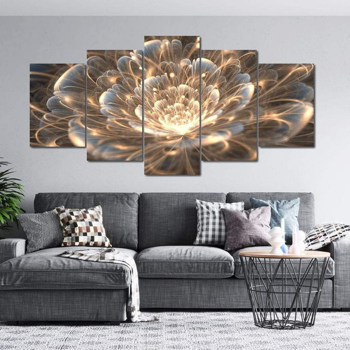 Golden Rays Fractal Flower Multi Panel Canvas Wall Art - NicheCanvas