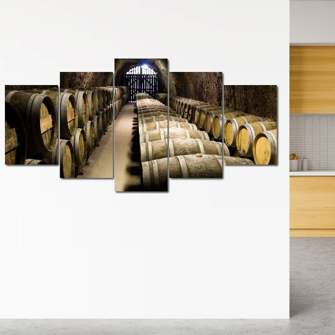 Hillside Wine Cellar Multi Panel Canvas Wall Art - NicheCanvas