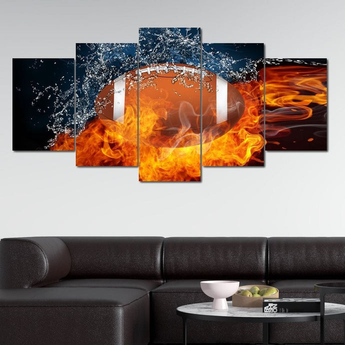 Fire & Water Football Multi Panel Canvas Wall Art - NicheCanvas