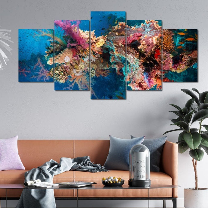 Tropical Corals Multi Panel Canvas Wall Art - NicheCanvas