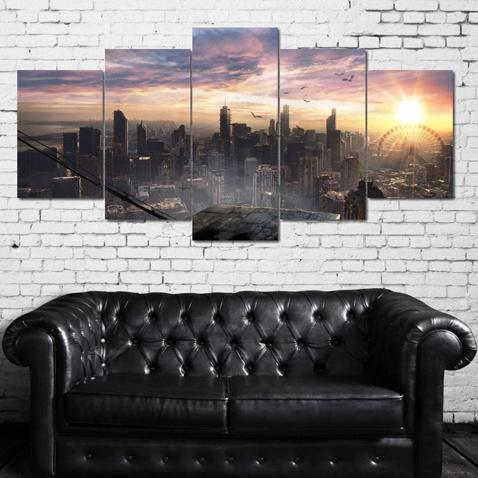The City Of Chicago Canvas Multi Panel Canvas Wall Art - NicheCanvas