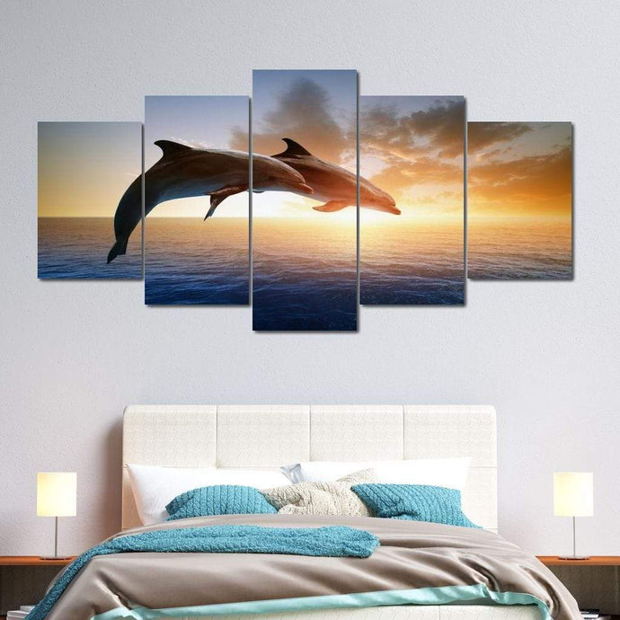 Jumping Dolphins Multi Panel Canvas Wall Art - NicheCanvas