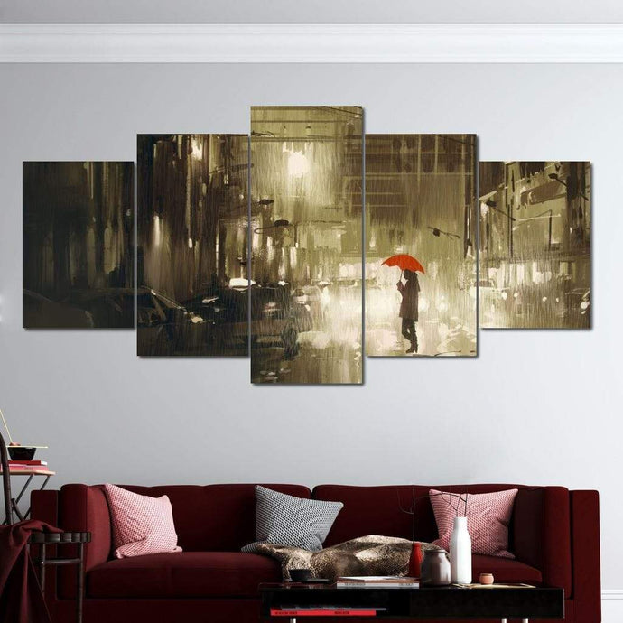 Red Umbrella In The Dark City Multi Panel Canvas Wall Art - NicheCanvas
