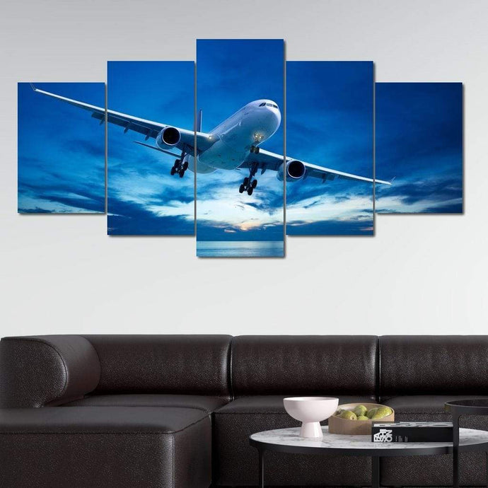 Airplane Over The Sea Multi Panel Canvas Wall Art - NicheCanvas