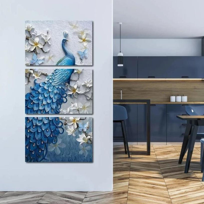 Blue Peacock Flower Set - Vertical Multi Panel Canvas Wall Art - NicheCanvas