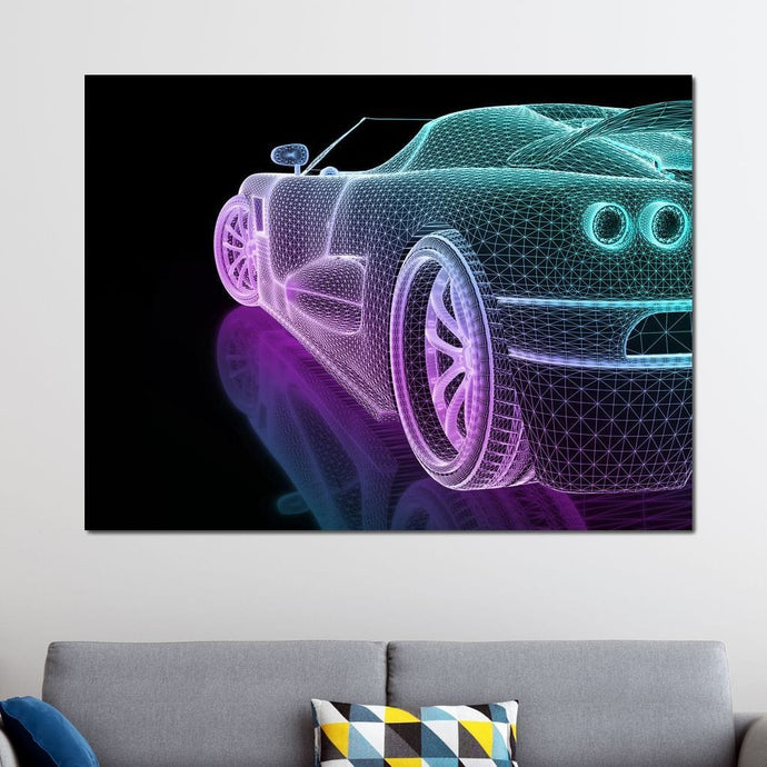Speed Grid Neon - Johanjjf Multi Panel Canvas Wall Art - NicheCanvas