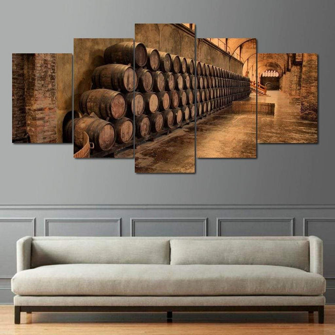 Limited Edition - Wine Wall Art 5 Multi Panel Canvas Wall Art - NicheCanvas