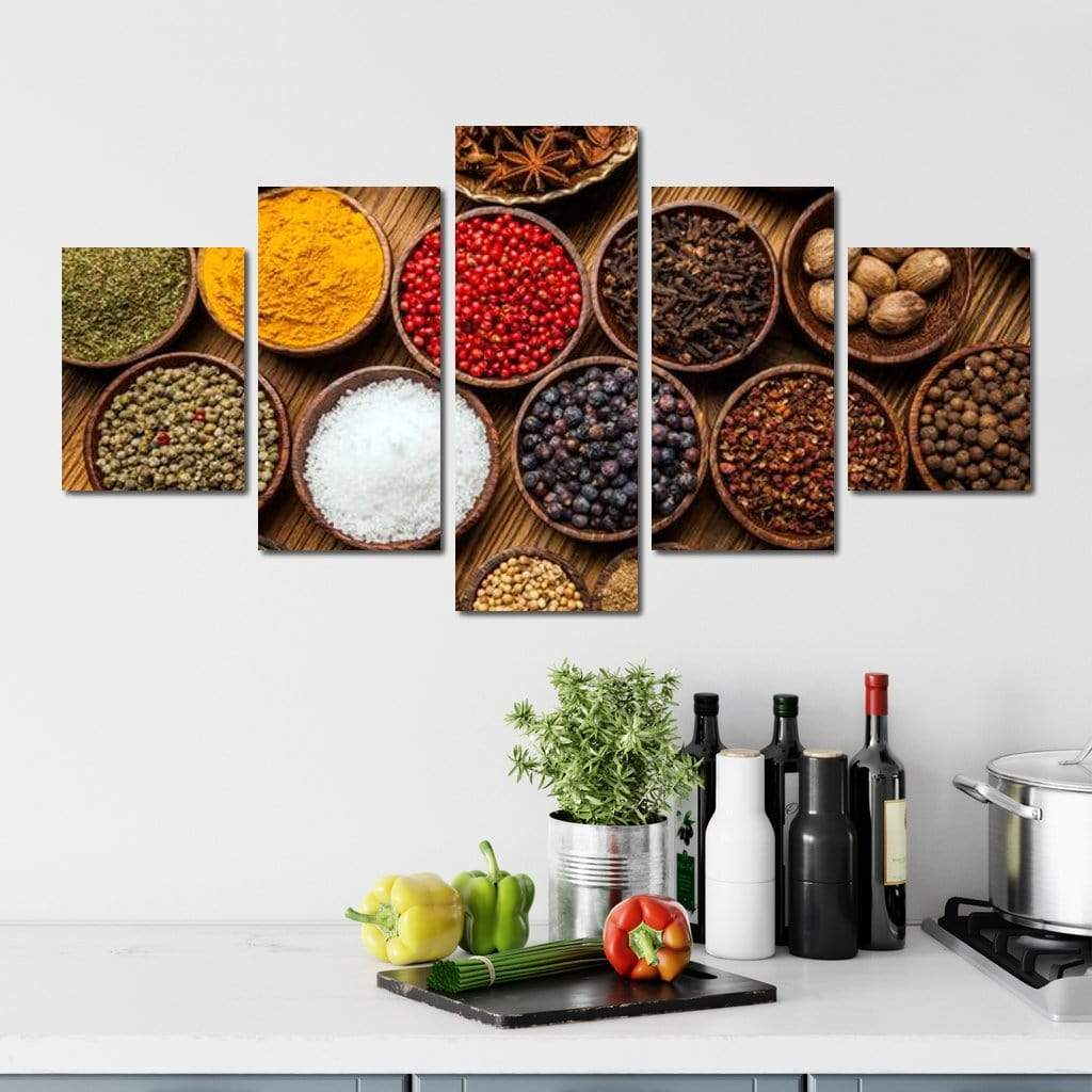 World Spices Multi Panel Canvas Wall Art - NicheCanvas