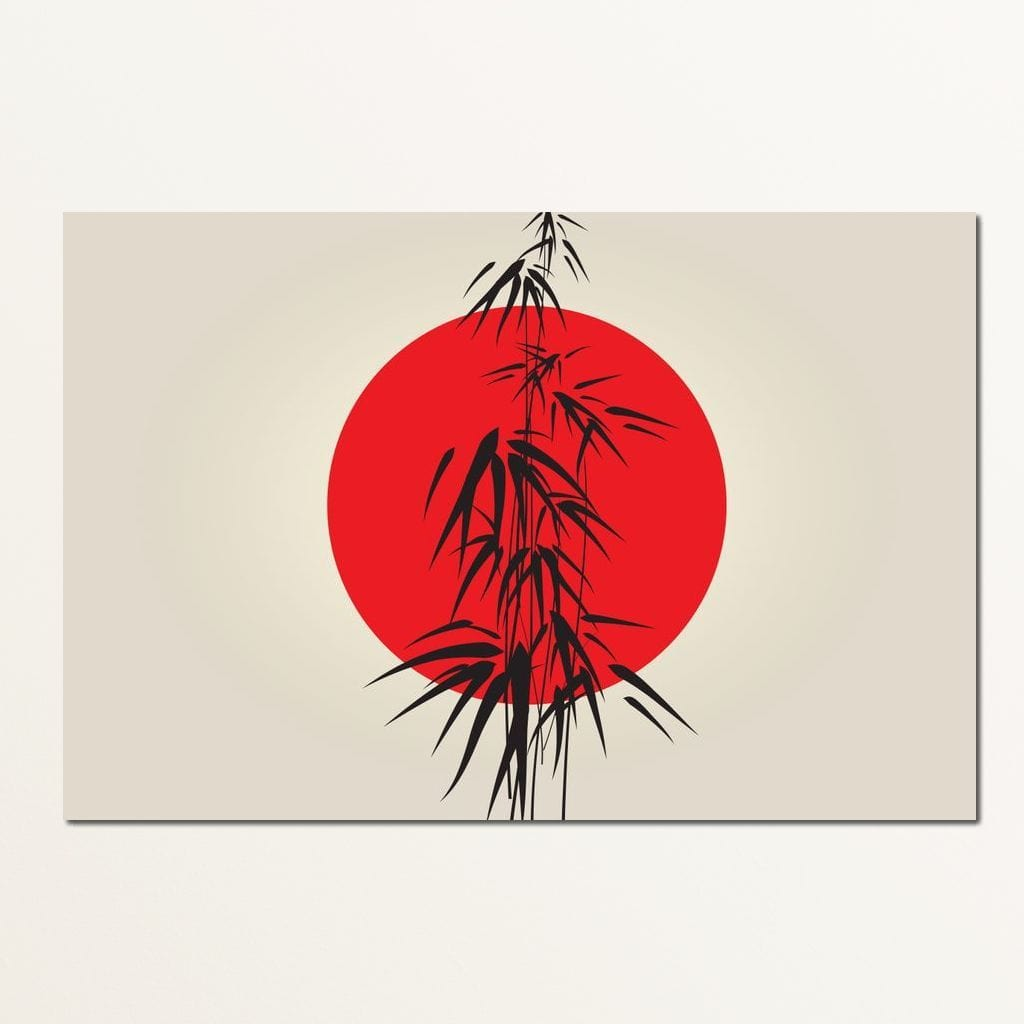 Red and Black Bamboo Multi Panel Canvas Wall Art - NicheCanvas