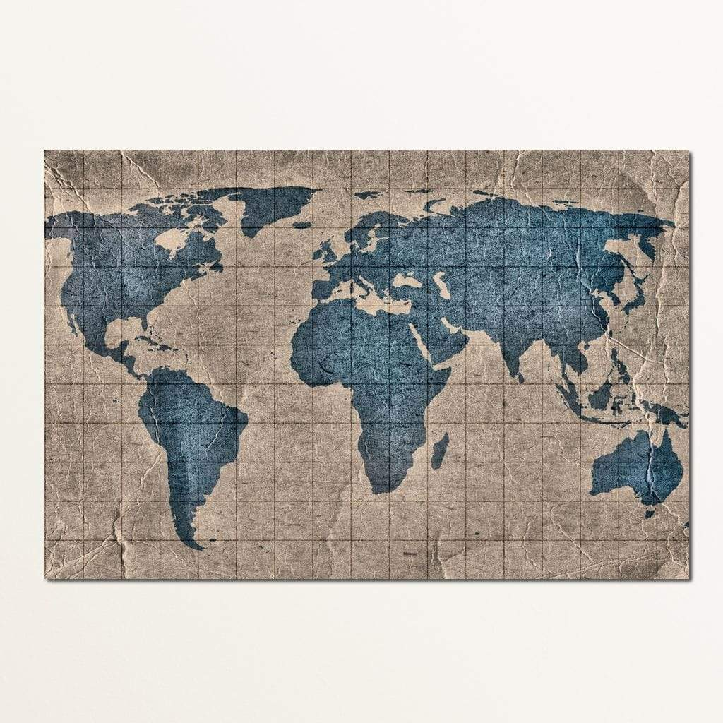Blue Lands World Map Multi Panel Canvas Wall Art - NicheCanvas