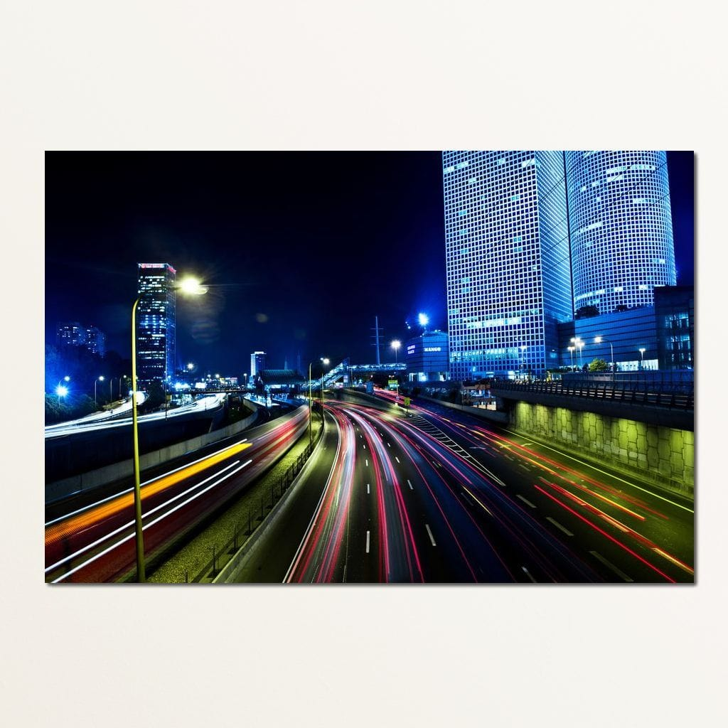 Tel Aviv Highway Multi Panel Canvas Wall Art - NicheCanvas