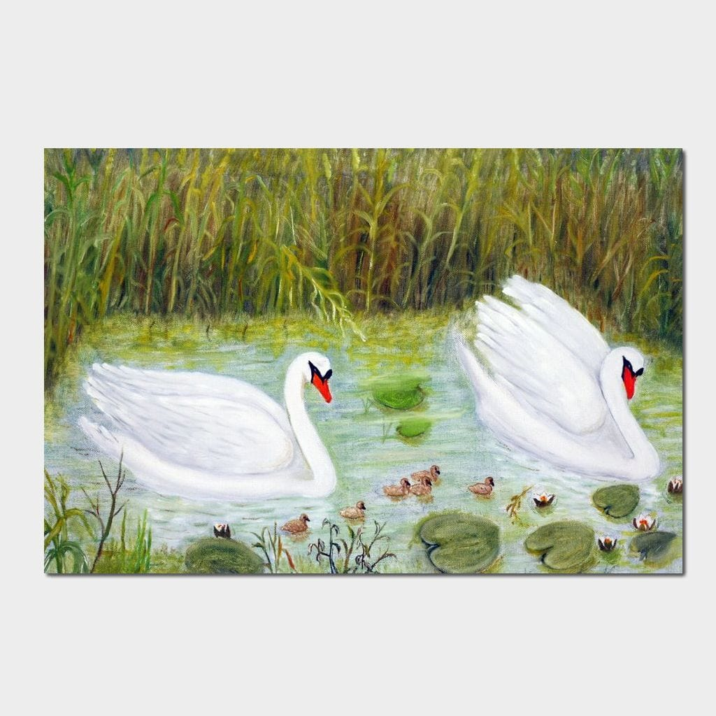 Swans Family Multi Panel Canvas Wall Art - NicheCanvas