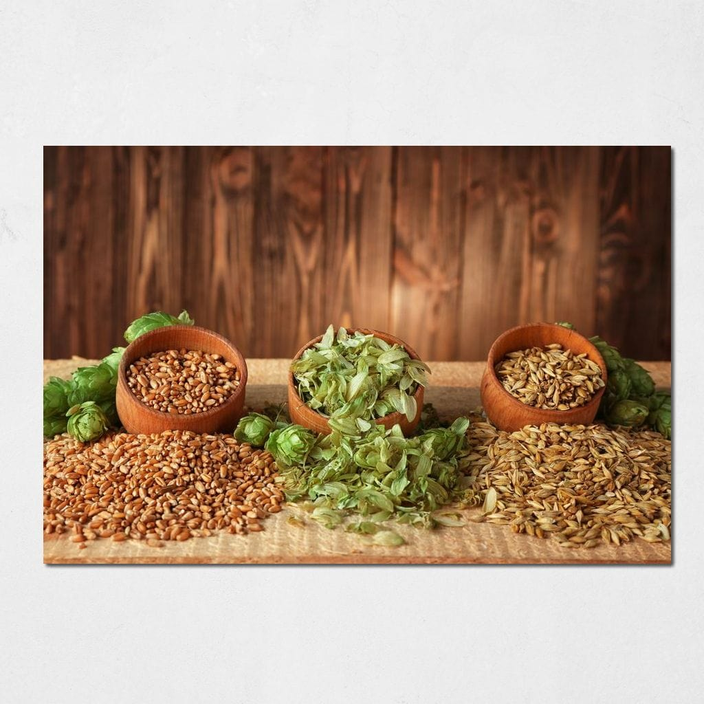 Natural Beer Ingredients Multi Panel Canvas Wall Art - NicheCanvas