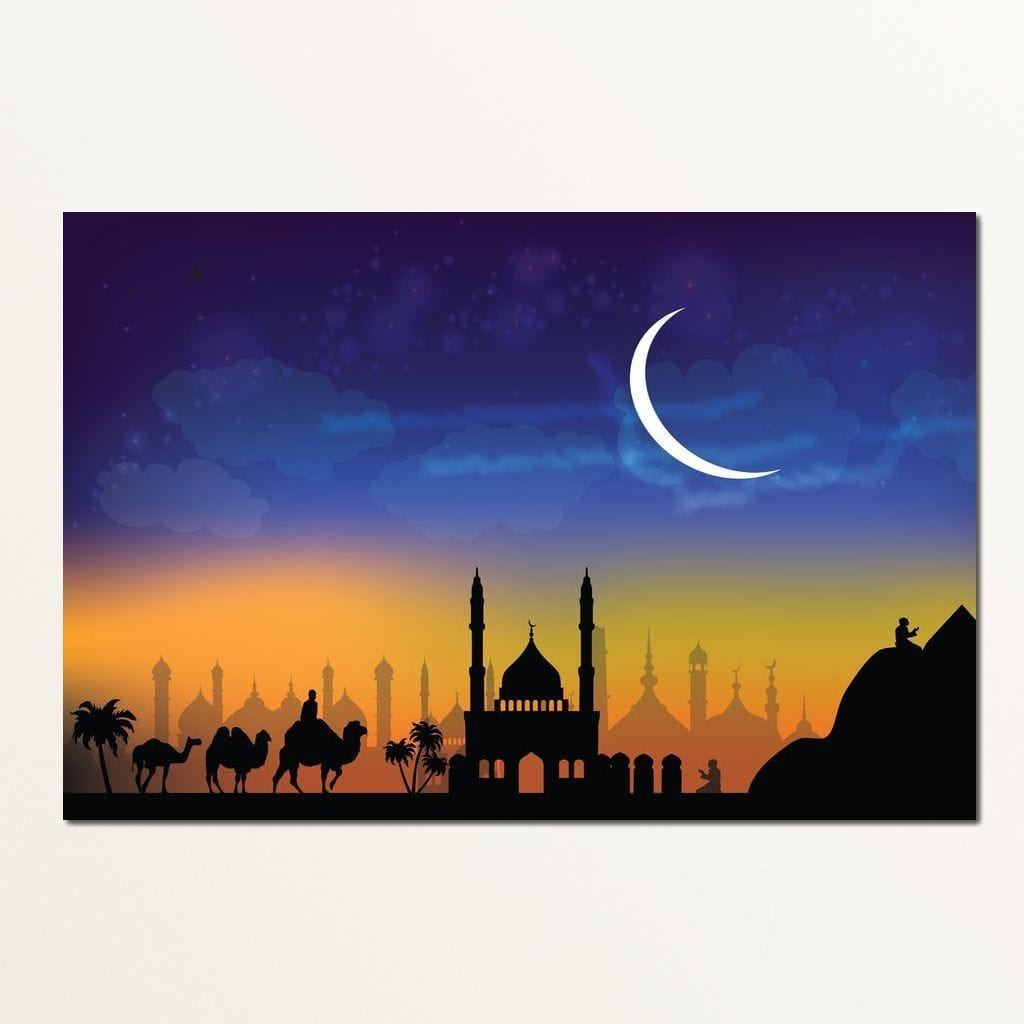 Mosque Caravan Multi Panel Canvas Wall Art - NicheCanvas