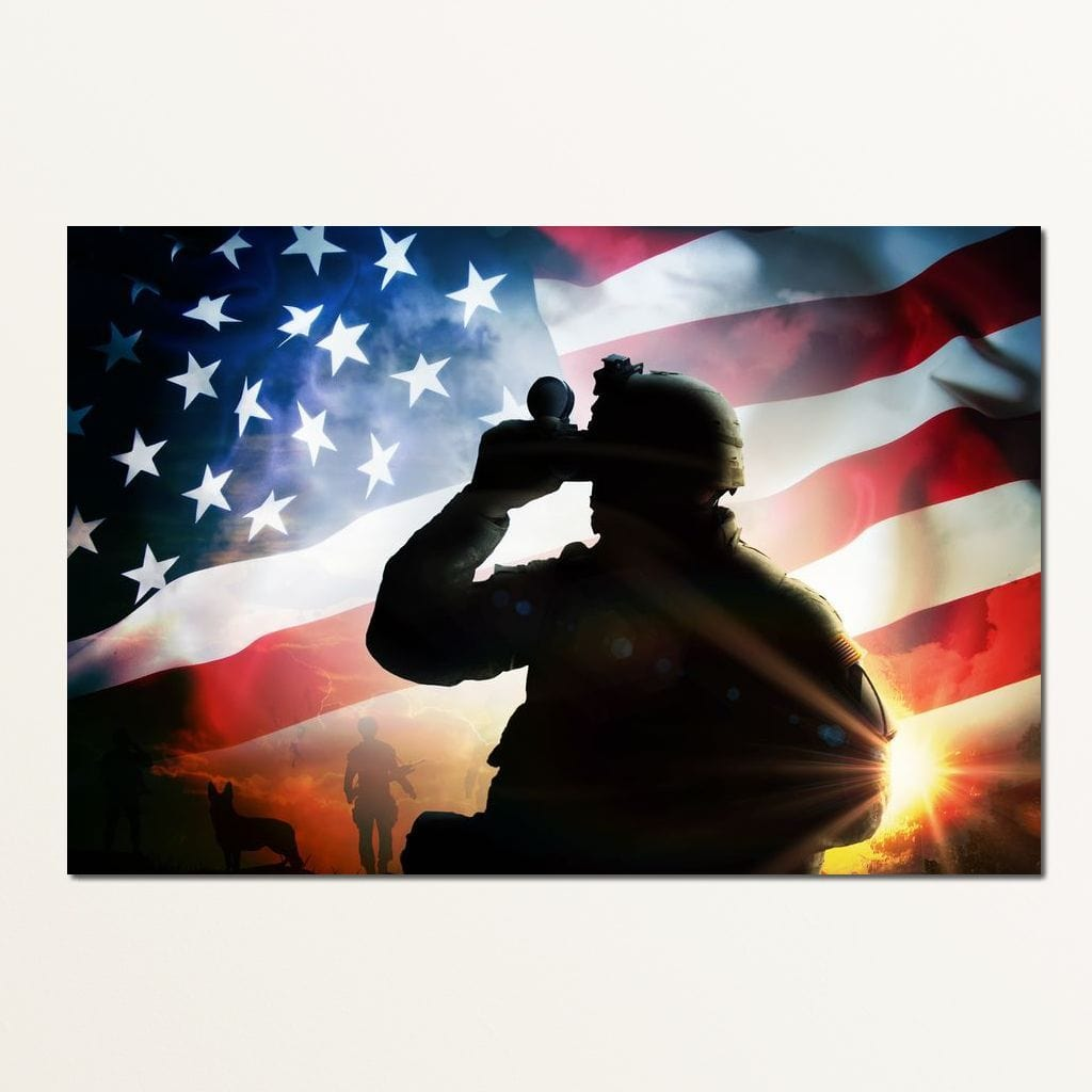 American Soldier Multi Panel Canvas Wall Art - NicheCanvas