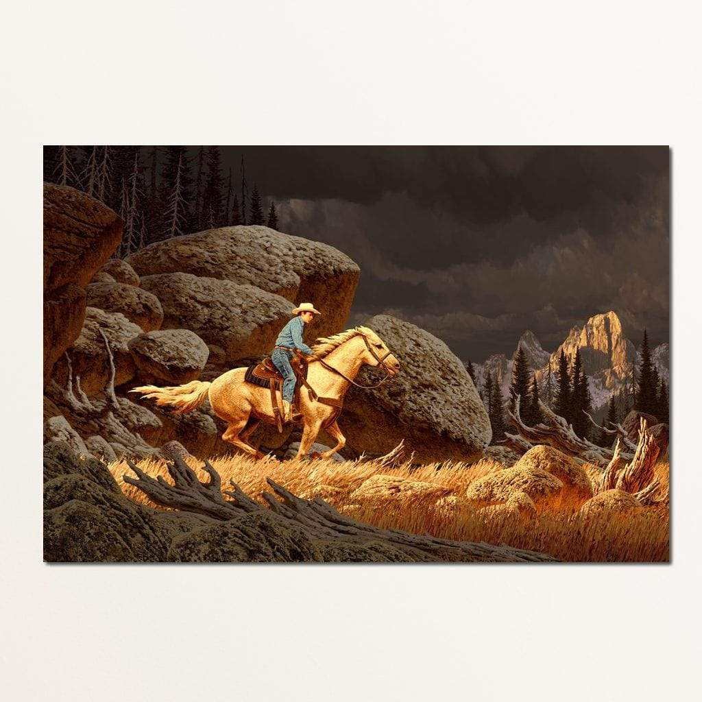 Cowboy In The Rockies Multi Panel Canvas Wall Art - NicheCanvas