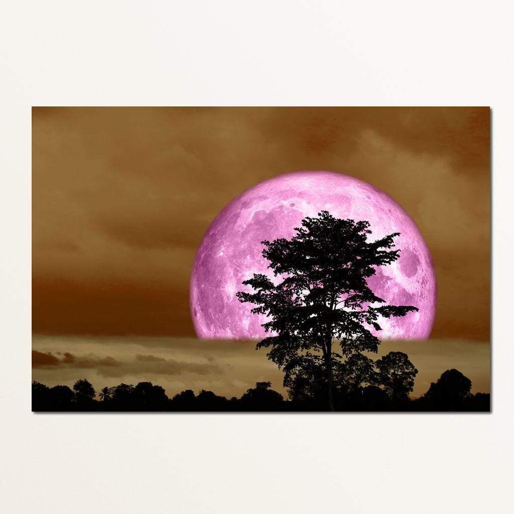 Purple Moon Multi Panel Canvas Wall Art - NicheCanvas