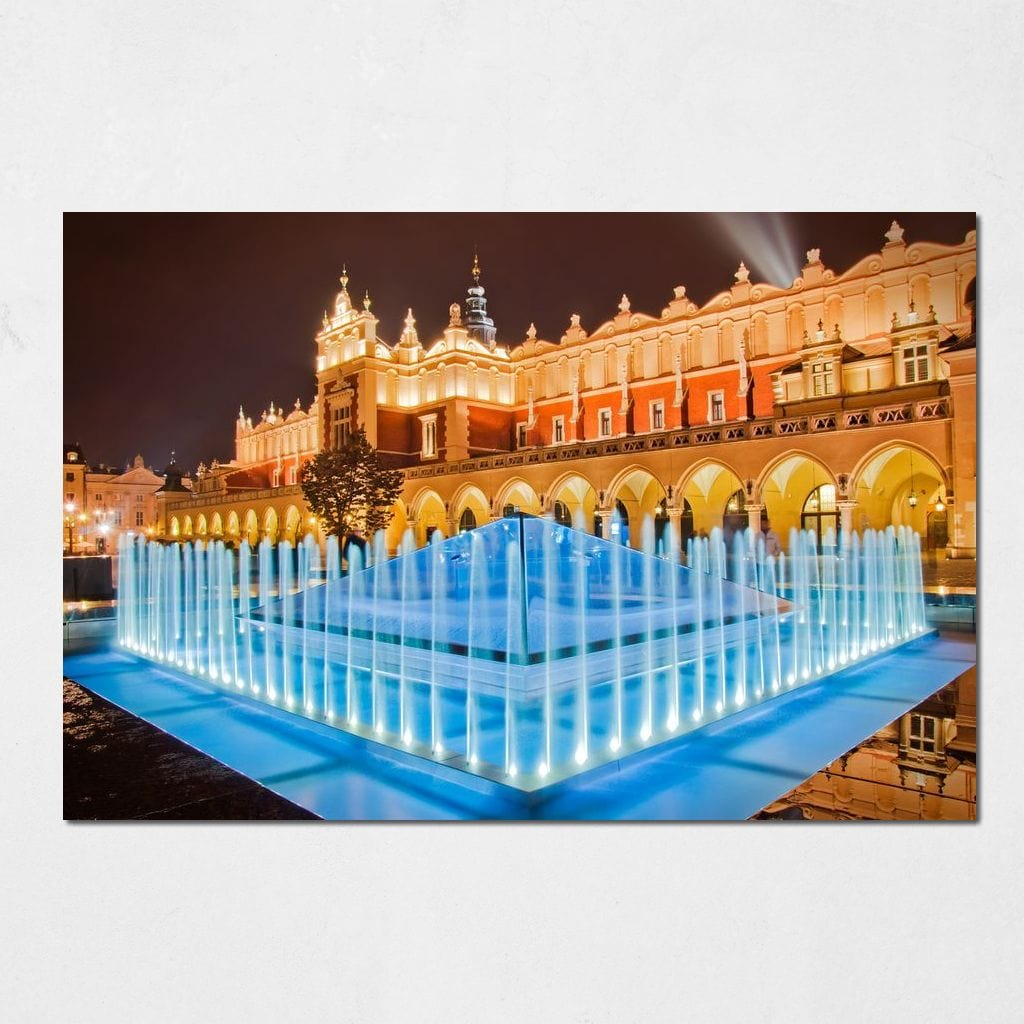 Illuminated Fountain Small Canvas
